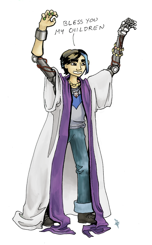 A cartoon of Jim Nightmare, a young robot guy with blue-dyed hair, exposed metal over all parts of his body but the face and lower right arm, and a t-shirt with a heart on it. He's dressed in badly fitting priest robes and raising his hands as if in blessing, but they look more like claws. He has a goofy grin and he's saying Bless you, my children.