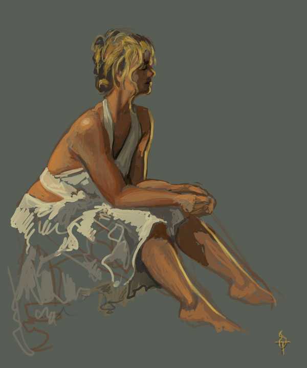A young blond woman in a light, frilly white skirt and a white top tied over her breasts and knotted in the back, sitting with her hands clasped on her knees