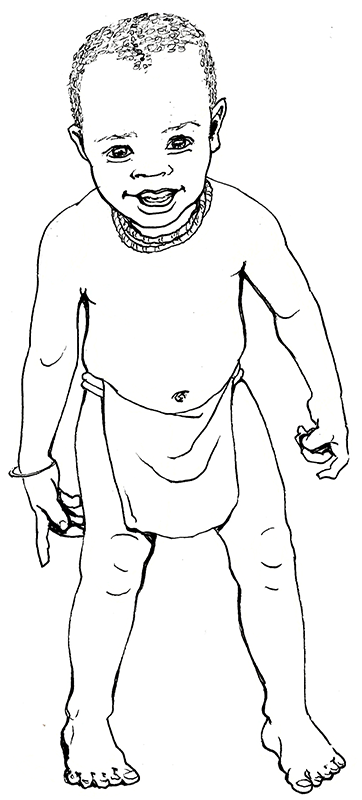 A pen and ink drawing of a young toddler in a loincloth and necklaces, grinning curiously at the viewer