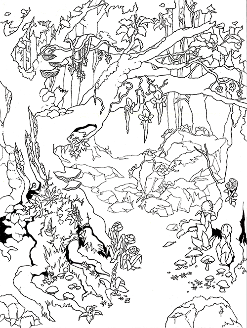 A pen and ink drawing of an overgrown forest with a lot of different types of plants and flowers. There are venus-flytrap-like flowers with long tongues hanging from branches. Vines creeping up the side of the tree that break open to reveal petals. Lumpy growths like a string of beads along the tops of rocks, with a flower growing out of each bead. Flowers growing from the ground like an ear of corn. Mushrooms of different shapes and sizes. A thorny bush with flowers that have long thin petals. Star-like tiny flowers sprinkling the ground and dangling from branches.