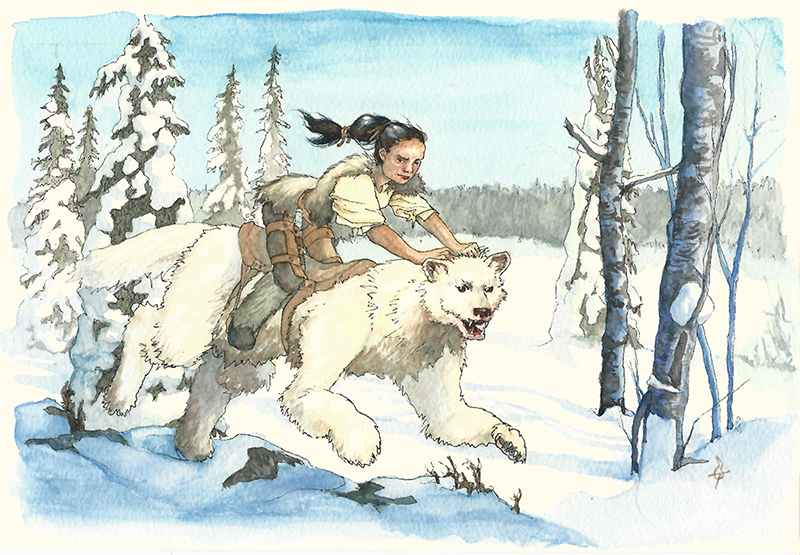 A young woman with long black hair riding a creature that looks like a cross between a bear and a ferret, with fur the colour of fresh fallen snow. They're bounding across a winter landscape on a sunny day, surrounded by coniferous taiga trees.