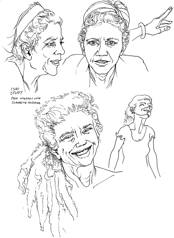 A page of pen and ink drawings from different angles of a smiling middle-aged woman with a full head of fuzzy dreadlocks tied back with a cloth