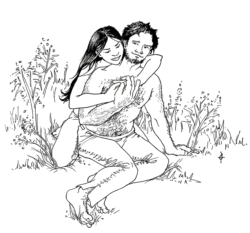A pen and ink drawing of a young couple hugging each other in the grass, dressed in leather pants and nothing else. The man is heavyset and muscular, with tousled hair, lots of body hair and a goofy smile. The young woman has long black hair hanging loose over her shoulders, and she's hugging him from behind with her hands clasped over his chest, and looking at him mischievously.