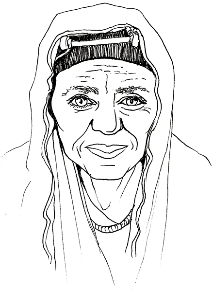 A pen and ink drawing of an intense-looking elderly woman in a shawl and headdress, looking directly out at the viewer
