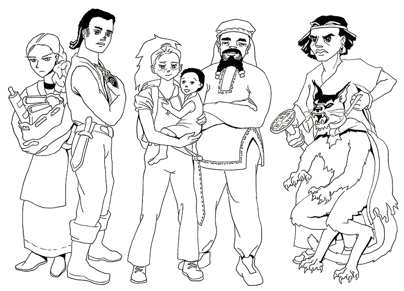 A pen-and-ink drawing of seven people. On the left, a well-built young man and a sullen young woman with an armful of books stand back to back. In the middle is a cheerful, freckled girl holding a young boy, with a strapping older merchant man standing beside her with a turban on his head and beads in his beard. On the right is an angry regal woman with a gold circlet and her hair flaring out around her face, holding tightly to the collar of a snarling catlike monster.