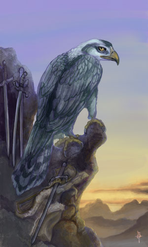 A large gryphon-like creature with heavy folded wings perches on a rocky outcropping with its back turned. Its head is turned sideways and one baleful yellow eye is fixed on the viewer. Three swords are leaning against the rock nearby and a fourth lies on a fallen fur cloak on the ground. The dawn sun is rising over the mountains in the background.