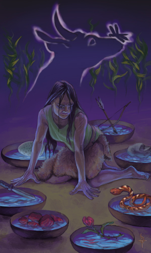 A dark-haired young woman in a green tunic and furs is on hands and knees in the dirt, surrounded by seven low wooden bowls filled with water. Moving clockwise from the one behind her, the bowls contain a bow and arrow, a rock, a red and yellow snake, a thorny rose, chunks of meat, a knife, and a speckled egg.