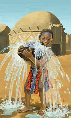 A young black boy struggling to hold aloft an overflowing ornate wood chest. Water is cascading out of the chest, leaving puddles in the sand at his feet. The boy is wearing a brightly coloured woven loincloth with geometric patterns. In the background is a mud brick building with a round roof and set of double doors.