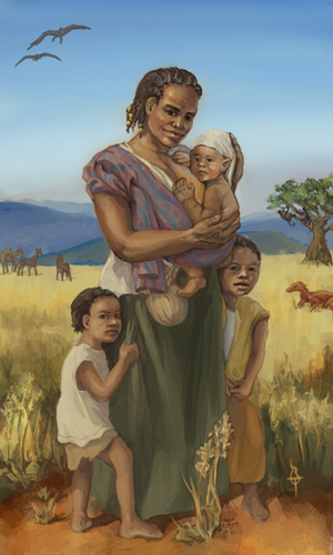 A smiling woman standing on a sunny plain with her two young children clinging to her skirt. She is carrying a baby in a sling of fine striped cloth and cradling his head as she nurses him. In the clear sky above are flying two birdlike creatures. A tree in the background has monkeylike creatures hanging from the branches, and a large lizard and a herd are also in the background.