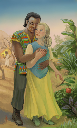A young, well-built black man clasping in his arms a shorter blond woman with long braids pulled into a hairnet at the nape of her neck. She's wearing a simple vest over a light blouse and skirt billowing in the wind, and he's wearing a fine woven tunic with geometric tribal patterns and loose pants. Falling from her hand is a broken branch with an apple. Behind him is a desert with a dead tree and a small white-robed figure standing nearby. Behind her are lush tropical plants.