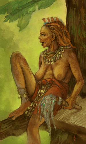 A bare-breasted older woman sitting in the crook of a tree, looking out with a broad mischievous smile. She has a cloth sarong wrapped around her waist and a neck ornament made out of a chain of coins. Another web of coins hangs down from her waist. She has long, prehensile toes, red-orange hair in dreds, and she's holding an ornamental staff.