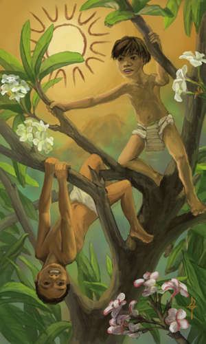 Two young kids are playing in a plumeria tree, surrounded by leaves and blossoms. The boy is swinging upside down from a branch and the androgynous-looking girl is perched in a split in the trunk. The sky is warm burnished yellow and the shape of the sun is outlined in red ochre. In the distance, through the haze, is a forest or jungle on the side of a volcano.