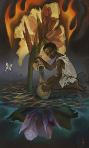 Young black woman pours water and fire between two jugs, with a butterfly nearby