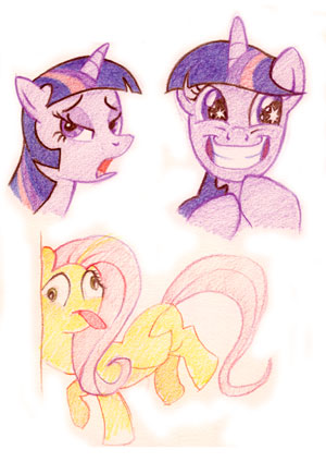 Pouty contemptuous Twilight Sparkle and evil grinning Twilight with sparkles in her eyes. Fluttershy faceplanting into a wall.