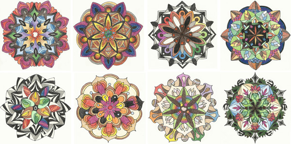 Eight circular colour studies in coloured pencil