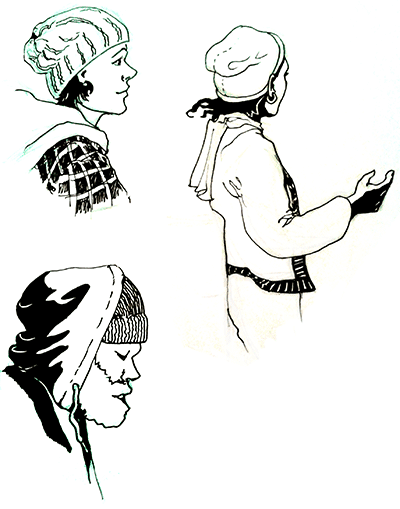 Three pen-and-ink sketches of people. A smiling dark-haired woman in profile, with a tuque and plaid winter coat. An older woman in a cardigan, in animated conversation. A young man in a tuque and hoodie with a huge bushy beard.