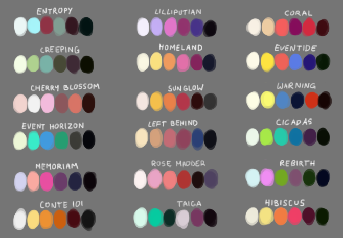 18 swatches of colour, six colours each, which could be used as palettes for painting.